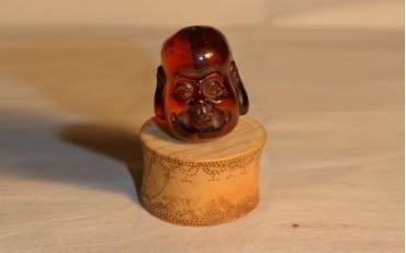 19 Amber Buddha head Laos circa 1800