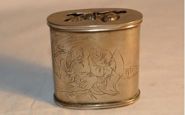 25 Paktung opium box with romantic scene from Peking region circa 1900