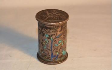 6 Beautiful silver and cloisonne opium box 1907 (Vietnam 1920)