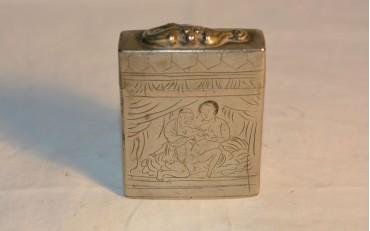 8 Erotic opium box in silver from Shangai region qing dynasty